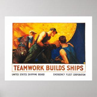Het groepswerk bouwt Schepen Poster