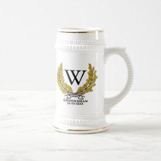 Het groomsman-Beste Man van het monogram Bierpul