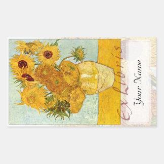 """Het Grote Boekmerk """"Ex Libris """" van zonnebloemen Rechthoekige Sticker"""