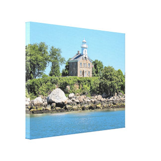 Het grote Canvas van Kapitein Island Lighthouse CT