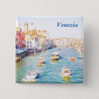 Het Grote Kanaal van Venetië Vierkante Button 5,1 Cm