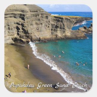 Het grote Strand van het Zand van Hawaï Papakolea Vierkante Sticker