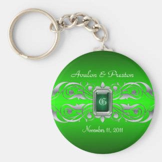 Het grote Zilveren Monogram Groene Keychain van de Basic Ronde Button Sleutelhanger