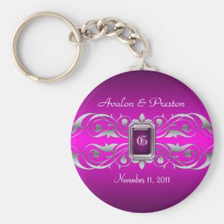 Het grote Zilveren Monogram Roze Keychain van de H Basic Ronde Button Sleutelhanger
