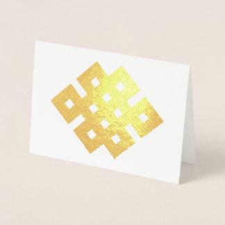 Het gunstige Boeddhistische Symbool van de Knoop Folie Kaarten