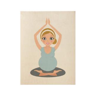 Het hand getrokken leuke meisje van de Yoga op Houten Poster