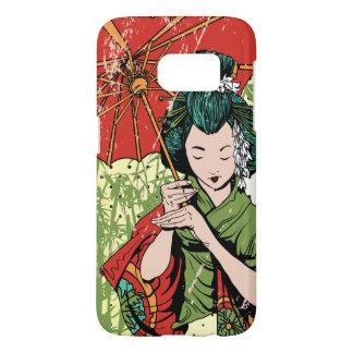 Het hand Getrokken Meisje van de Geisha met Samsung Galaxy S7 Hoesje
