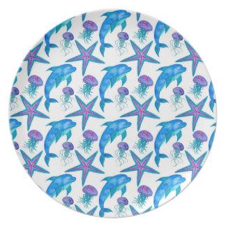 Het hand Getrokken Patroon van Dolfijnen Bord