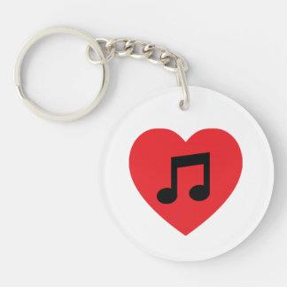 Het Hart AcrylKeychain van de Nota van de muziek Sleutelhanger