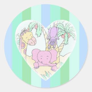 Het Hart die van het Baby van het oerwoud jongen Ronde Sticker