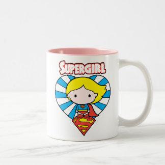 Het Hart en het Logo van Supergirl Starburst van Tweekleurige Koffiemok