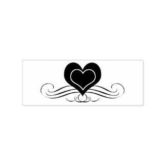 Het hart en het Scrollen bloeien Rubberenstempel