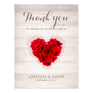 Het hart gaf Rood gestalte toenam dankt u kaardt Briefkaart