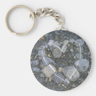 Het Hart Keychain van de steen Basic Ronde Button Sleutelhanger