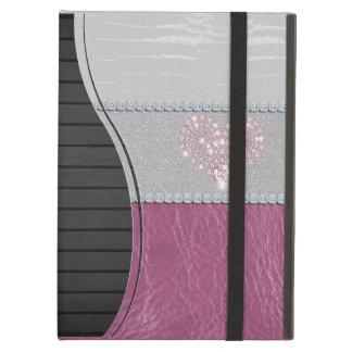 Het Hart van Bling op Glitter wit leer en roze iPad Air Hoesje