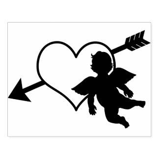Het Hart van de Cupido en Silhouet   van de Pijl Rubberenstempel