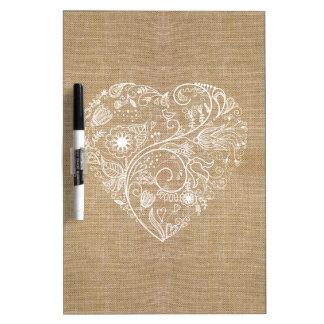 Het hart van de de jutebloem van het linnen whiteboard