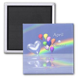 Het Hart van de Diamant van de Verjaardag van apri Vierkante Magneet