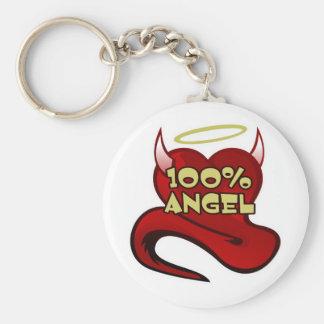Het Hart van de Duivel van de Engel van 100% Basic Ronde Button Sleutelhanger