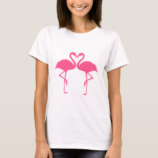 Het hart van de flamingo, twee roze flamingo's in t shirt