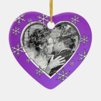 Het Hart van de Foto van eerste Kerstmis Keramisch Hart Ornament