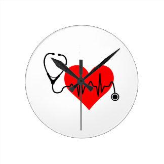 Het Hart van de Hartslag van de stethoscoop Ronde Klok