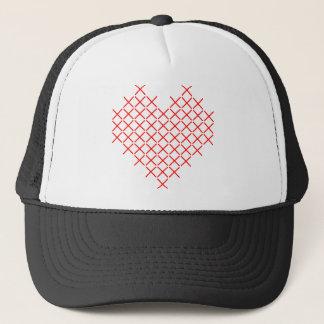 Het hart van de rood kruissteek trucker pet