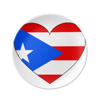 Het Hart van de Vlag van Puerto Rico Porseleinen Bord
