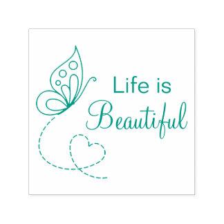 Het Hart van de vlinder - het Leven is Mooi Zelfinktende Stempel
