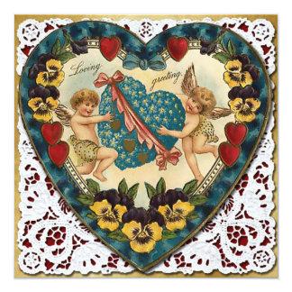 Het Hart van Valentijn met Kant - Vintage 13,3x13,3 Vierkante Uitnodiging Kaart