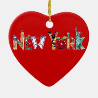 Het hartornament van New York van de liefde Keramisch Hart Ornament