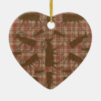 Het hartornament van rustieke plaid bruin keramisch hart ornament