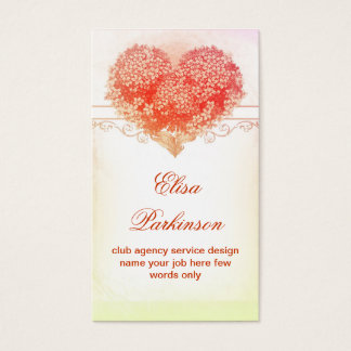 het hartvisitekaartje van de vintage bloesems rood visitekaartjes