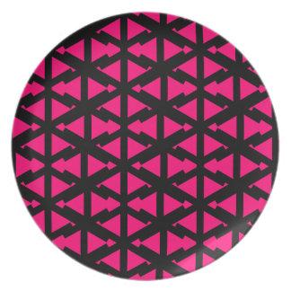 Het heldere Hete Roze Patroon van de Stijl van de Melamine+bord