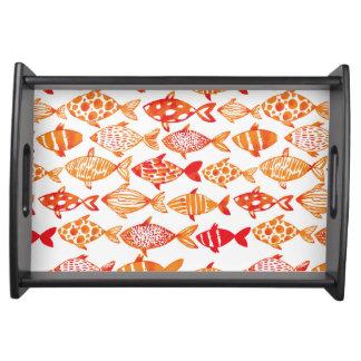 Het heldere Oranje Patroon van de Vissen van de Dienblad