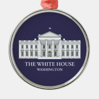 Het herdenkingsOrnament van het Witte Huis Zilverkleurig Rond Ornament
