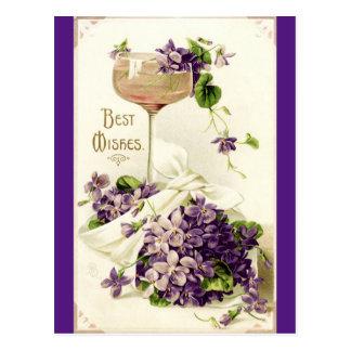 Het herstelde Vintage Briefkaart van Beste wensen