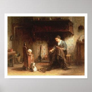 Het herstellen van de Netten (olie op paneel) Poster