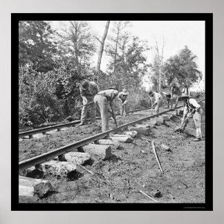 Het herstellen van het Spoor van de Spoorweg in Te Poster