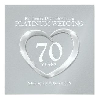 Het het huwelijkshart van het platina 70 jaar 13,3x13,3 vierkante uitnodiging kaart