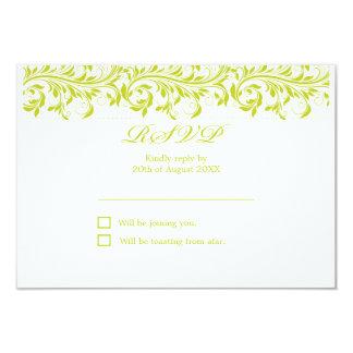 Het het limoen groene en witte huwelijk RSVP van 8,9x12,7 Uitnodiging Kaart