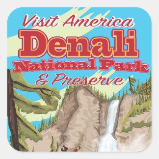 Het het Nationale Park van Denali en Poster van de Vierkante Sticker