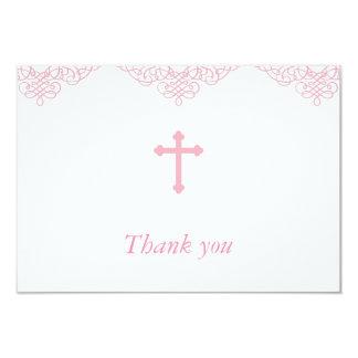Het het roze Doopsel/Doopsel van Meisjes dankt u 8,9x12,7 Uitnodiging Kaart