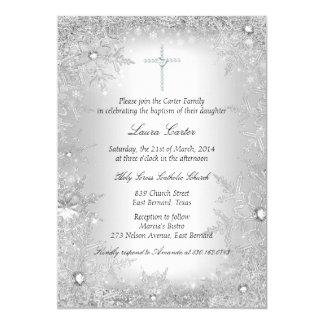 Het het zilveren Doopsel/Doopsel van de Sneeuwvlok 12,7x17,8 Uitnodiging Kaart