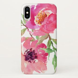 Het hete Roze BloemenPatroon van de Waterverf iPhone X Hoesje