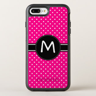 Het hete Roze en Uiterst kleine Witte Monogram van OtterBox Symmetry iPhone 8 Plus / 7 Plus Hoesje