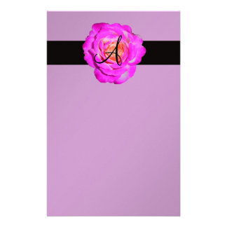 Het hete roze nam paars monogram toe briefpapier