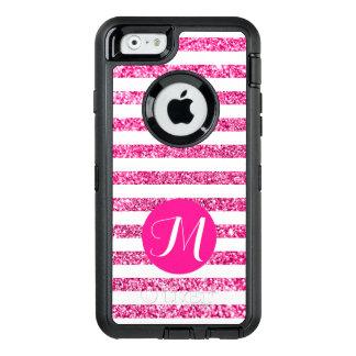 Het hete Roze schittert de Horizontale Strepen van OtterBox Defender iPhone Hoesje
