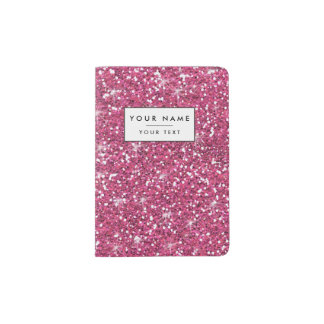 Het hete Roze schittert Gedrukt Paspoort Houder