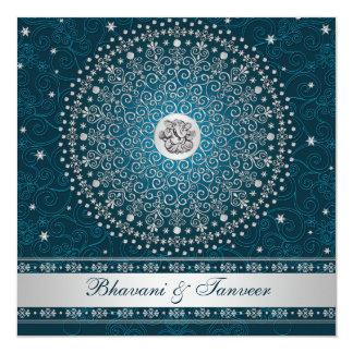 Het Hindoese Blauwgroen, Zilveren Huwelijk van 13,3x13,3 Vierkante Uitnodiging Kaart
